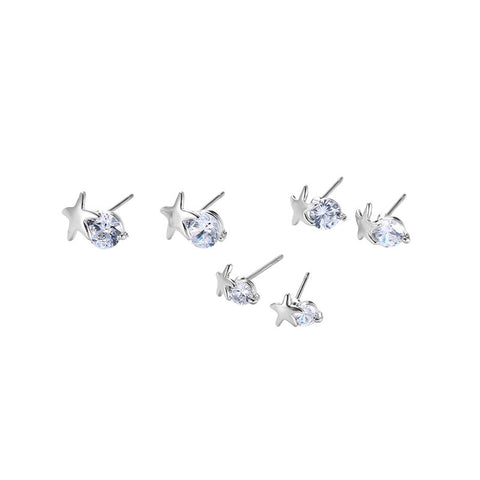 6pcs Cute Earrings Rhinestone Star Earrings for Women Gift