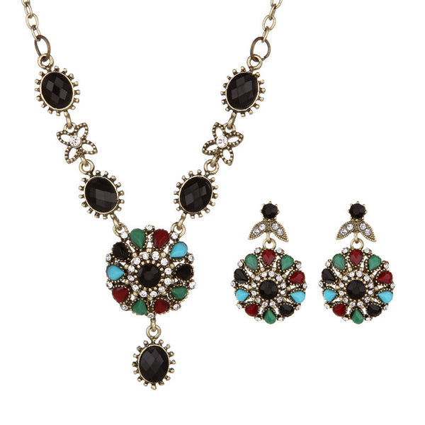 Bohemian Leaf Jewelry Set Vintage Colorful Gemstone Earrings Necklace for Women