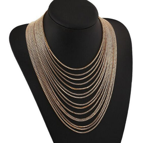 Trendy Exaggerated Gold Multilayer 15 Chains Tassels Long Necklace Women Accessories