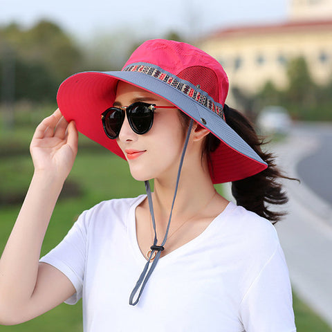 Women Mesh Breathable Quick-dry Fisherman Hat Outdoor Travel Light Foldable Anti-UV Bucket Hat