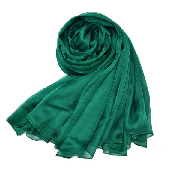 LYZA Women Solid Mulberry Silk Scarf Shawl 200*140CM Oversize Design Scarves Wraps Sunshade Shawls