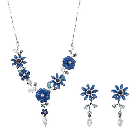 JASSY® Elegant Royal Blue Jewelry Set Flower Crystal Pearl Necklace Earrings