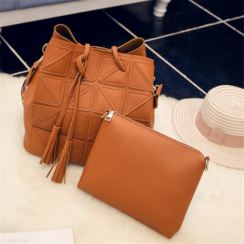 Women Retro Bucket Bags 2 PCS Handbags Elegant Bag