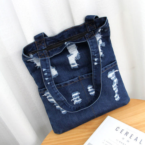 Denim Casual Shopping Bag Women Large Capacity Shoulder Bags Handbags