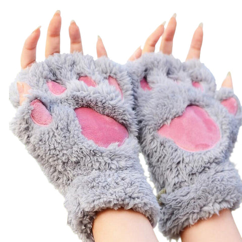 Women Lady Girl Bear Cat Paw Fingerless Gloves Fluffy Plush Paw Glove Winter Warm Mittens