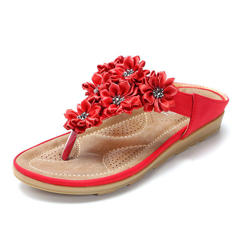 Comfortable Flower Clip Toe Beach Flat Slippers
