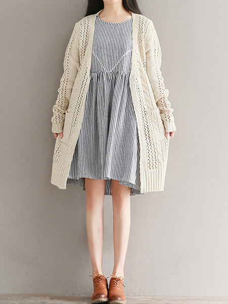 Casual Solid Color Pockets Long Sleeve Women Knitted Coats