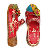 Vintage Colorful Leather Hollow Out Backless Flower Shoes