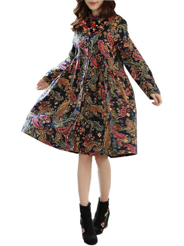 Bohemian Print Buttons Long Sleeve Turn-Down Collar Dress