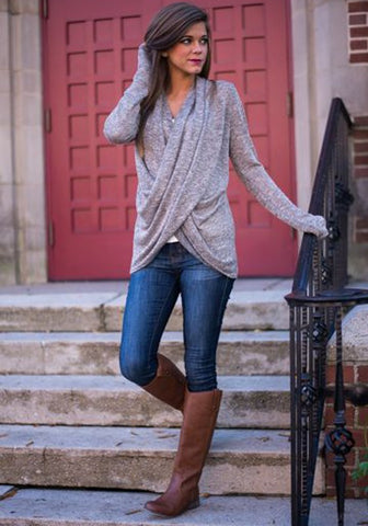 Grey Crossover Deep V Neck Long Sleeve Irregular Casual Pullover Jumper Sweater