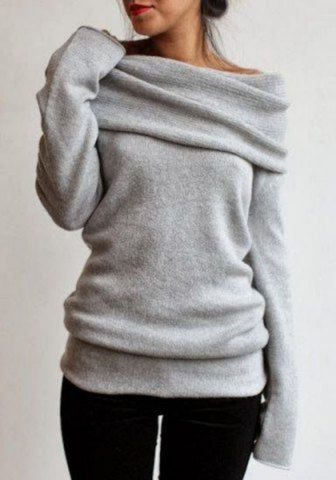 Grey Plain Turn-Down Collar Boat Neck Off-Shoulder Loose Knitwear Pullover Sweater