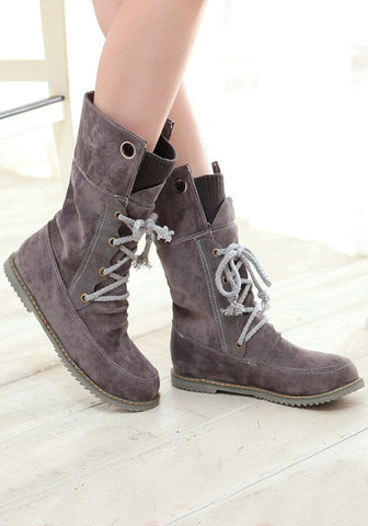New Women  Grey Round Toe Flat Lace-up Fashion Mid-Calf Boots