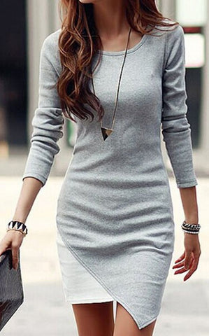 Grey-White Patchwork Irregular Hem Long Sleeve Bodycon Elegant Chiffon Mini Dress