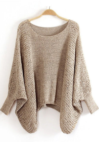 Khaki Irregular Hollow-out Scoop Neck Bat Sleeve   Jumper Stylish Blend Sweater