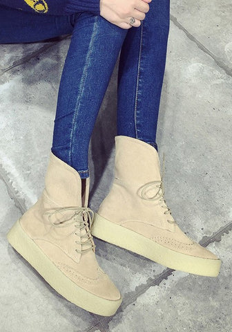 Khaki Round Toe Flat Within The Higher Two Wearing Boots