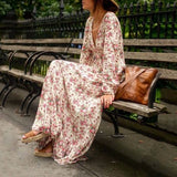 Multicolor Bohemian Floral Print Ruffle Deep V-neck Floor Length Boho Maxi Dress
