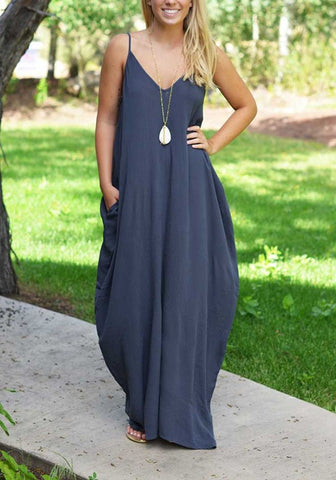 Navy Blue Plain Condole Belt Pockets Plunging Neckline Maxi Dress