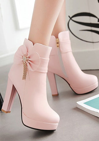 New Women Pink Round Toe Chunky Bow Fashion Martin Boots