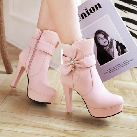 New Women Pink Round Toe Chunky Bow Sweet Ankle Boots