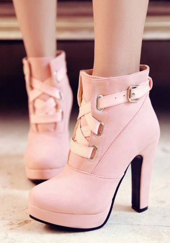 New Women Pink Round Toe Chunky Buckle Fashion High-Heeled Martin Boots