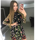Sexy Women Floral Embroidery Sheer Mesh Boho A-line Mini Dress