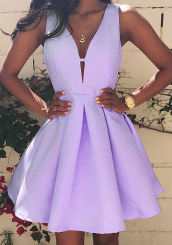 Purple Plain Pleated Plunging Neckline Party Cotton Mini Dress
