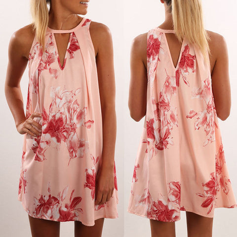 2017 New Women Sleeveless Floral Print Loose Chiffon Mini Dress