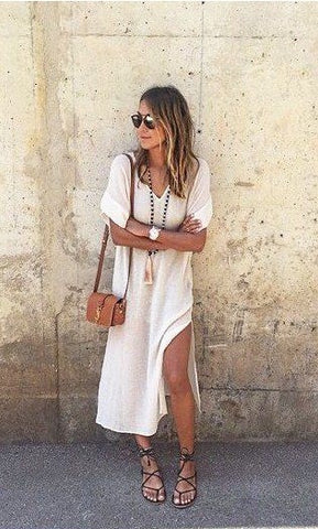 White Draped Slit Side V-neck Elbow Sleeve Casual Maxi Dress