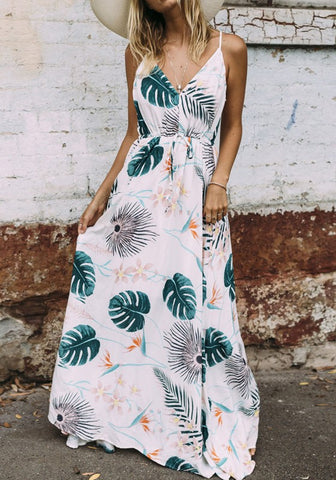White-Green Floral Print Spaghetti Draped Plunging Neckline Bohemian Beach Homecoming Party Maxi Dress