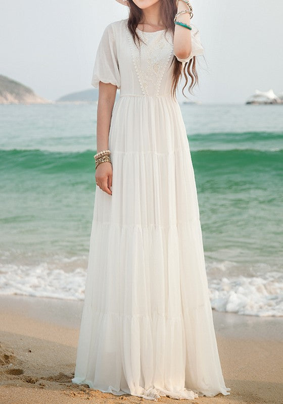 68f23619e1 White Lace Side Pull Round Neck High Waisted Bohemian Elegant Maxi Dress