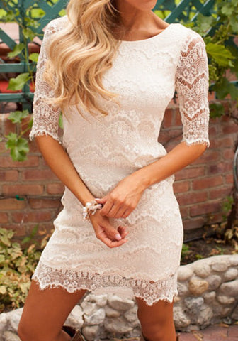 New Women White Patchwork Lace Zipper Round Neck Elbow Sleeve Mini Dress
