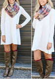 White Plain High Neck Long Sleeve Casual Mini Dress