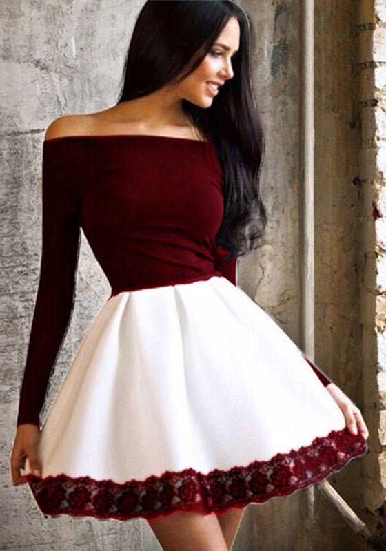 8fa3516f14d8 New Women Patchwork Lace Off Shoulder Prom Evening Party Tutu Fashion Mini  Dress
