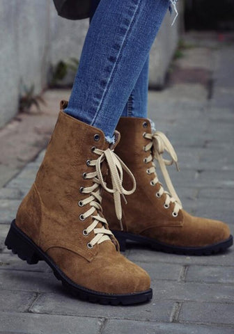 New Women Yellow Round Toe Mid Lace-up Fashion Mid-Calf Boots