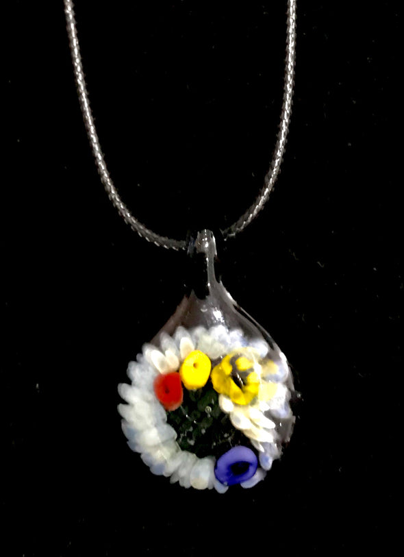 Glass Circular Multi-Flower Pendant