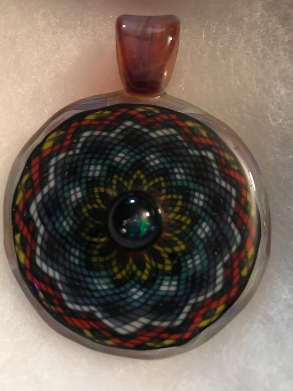 Intricate Glass Pendant with Opal Centerpiece