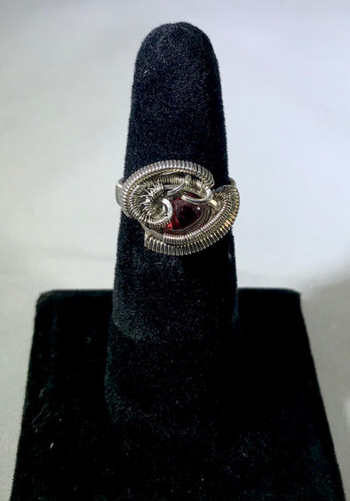 Wire Wrap garnet Ring