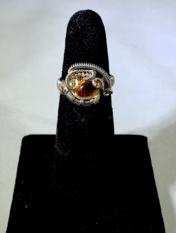 Wire Wrap amber Ring