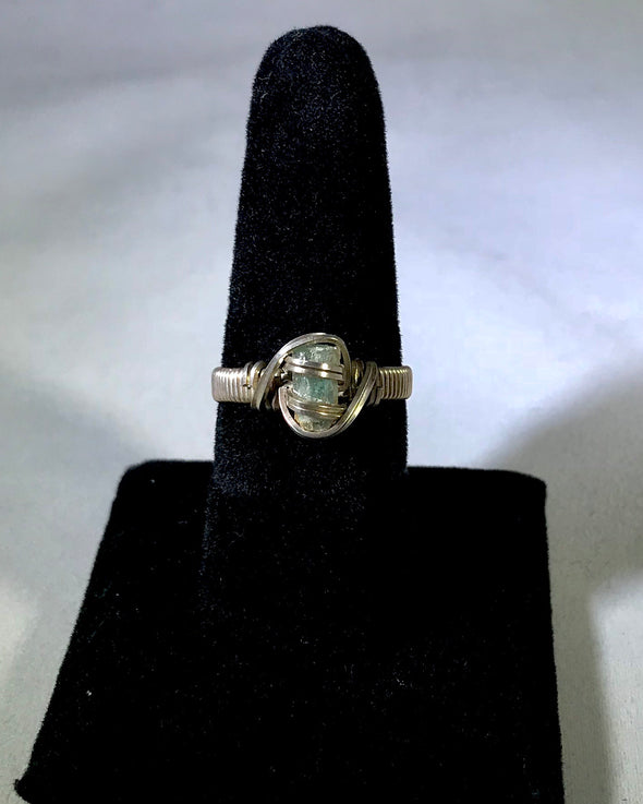 Wire Wrap blue tourmaline Ring