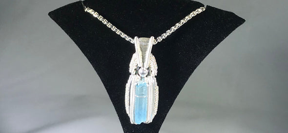 Pakistani Aquamarine/ .925 Sterling Silver wire-wrapped pendant