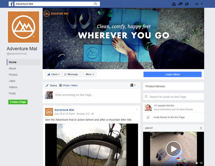 JUST LAUNCHED MY FACEBOOK BIZ PAGE. THE ADVENTURE MAT GOES SOCIAL!