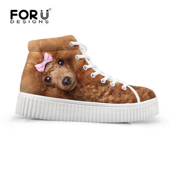 ... FORUDESIGNS Fashion Women Casual High Top Shoes Cute 3D Animal Pet Dog  Pug Printed Platform Shoes ... 30fc7b1e7233