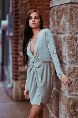 Gray Green twist front dress