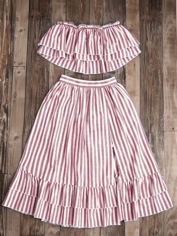 Striped Ruffle Skort