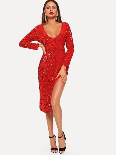 Deep V Neck Split Side Sequin Dress