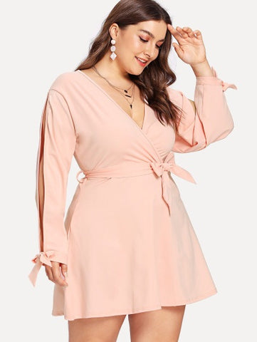 Plus Size Split Tied Sleeve Surplice Wrap Dress