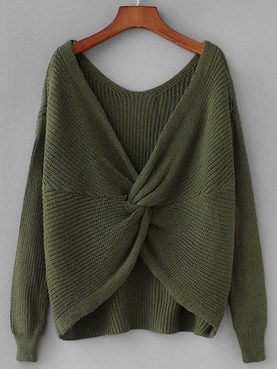 Twist Back Drop Shoulder Sweater