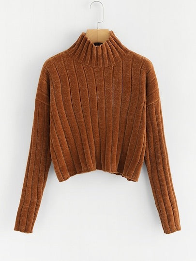 High Neck Raw Hem Crop Sweater