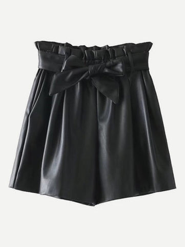 Frill Waist Shorts With Belt