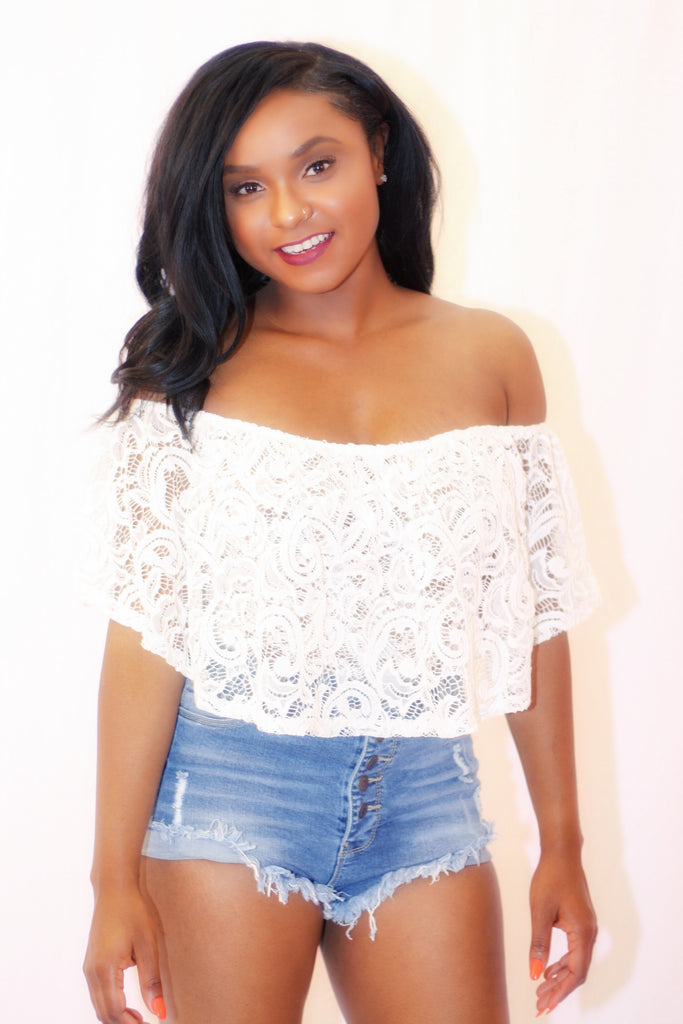 Lace off-shoulder bodysuit
